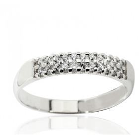 Bague alliance multi-rangs en or blanc 18 carats et diamant 0,20 carat