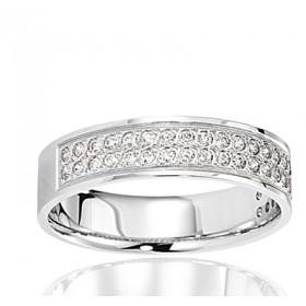 Bague alliance serti lumière en or blanc 18 carats et diamant 0,30 carat