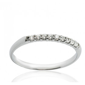 Bague alliance serti griffe en or blanc 18 carats et diamant 0,10 carat