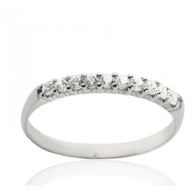 Bague alliance serti griffe en or blanc 18 carats et diamant 0,20 carat