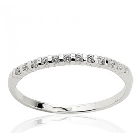 Bague alliance en or blanc 18 carats et diamant 0,10 carat serti barrette