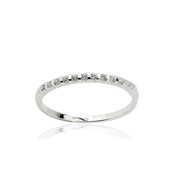 Bague alliance en or blanc 18 carats et diamant 0,10 carat serti barrette