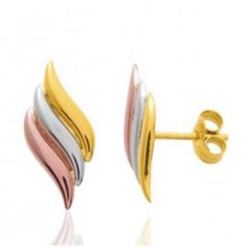 Boucles d'oreilles trois ors 18 carats pour femme