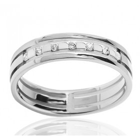 Bague alliance en or blanc 18 carats et diamant 0,08 carat
