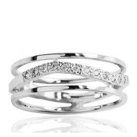 Bague alliance demi-tour en or blanc 18 carats et diamant 0,10 carat