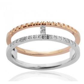 Bague alliance demi-tour deux ors 18 carats et diamant 0,07 carat