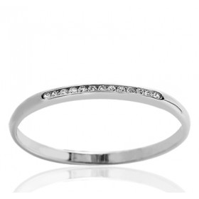Bague alliance demi-tour en or blanc 18 carats et diamant 0,05 carat serti rail