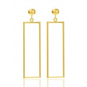 Boucles d'oreilles   en or jaune 18 carats rectangulaires pour femme
