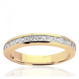 Bague alliance demi-tour en or jaune 18 carats et diamant  1,00 carat serti rail