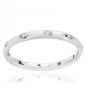 Bague alliance tour complet en or blanc 18 carats et diamant 0,20 carat