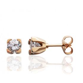 puces d'oreilles en or jaune 18 carats et diamant 020 carats pour femme