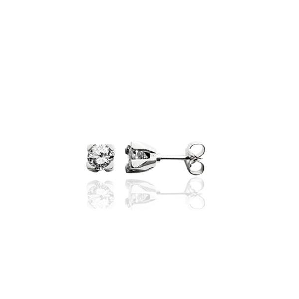 puces d'oreilles en or blanc 18 carats et diamant 0,20 carats pour femme