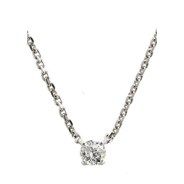 Chaine de cou en or blanc 18 carats et pendentif or blanc et diamant à partir de 0,10 carat