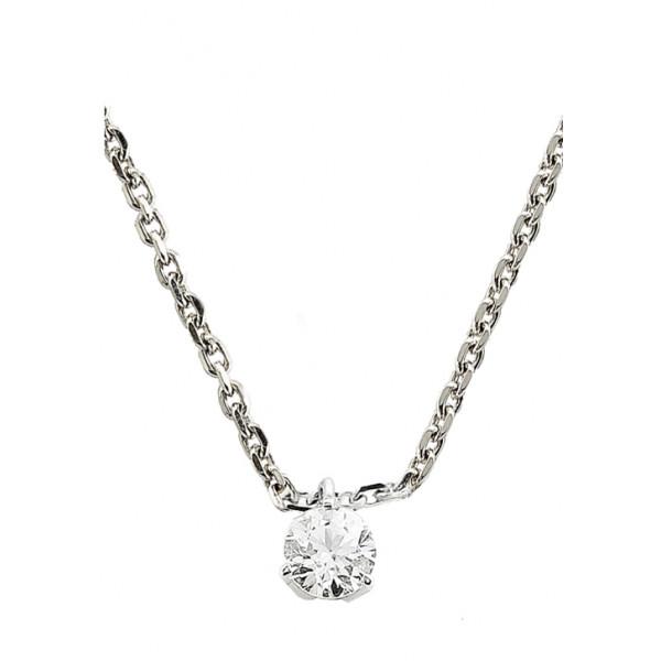 Chaine de cou en or blanc 18 carats et pendentif or blanc et diamant à partir de 0,10 carat serti trois griffes