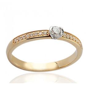 Bague solitaire demi-tour en or jaune 18 carats et diamant 0,32 carat serti rail