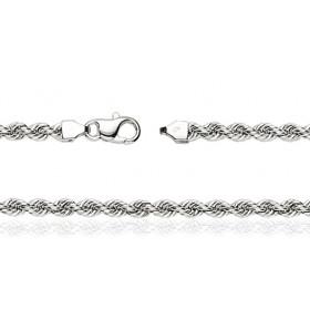 Chaine de cheville or blanc 18 carats maille corde