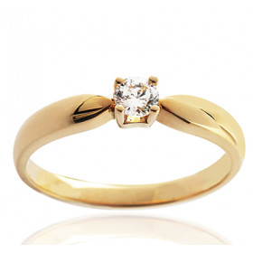 Bague solitaire demi-tour en or jaune 18 carats et diamant 0,10 carat serti quatre griffes