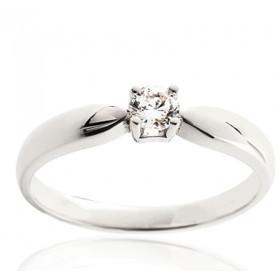 Bague solitaire demi-tour en or blanc 18 carats et diamant 0,10 carat serti quatre griffes