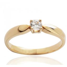 Bague solitaire demi-tour en or jaune 18 carats et diamant 0,20 carat serti quatre griffes