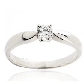Bague solitaire demi-tour en or blanc 18 carats et diamant 0,20 carat serti quatre griffes