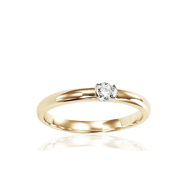 Bague solitaire en or jaune 18 carats et diamant 0,15 carat serti barrettes.