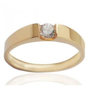 Bague solitaire en or jaune 18 carats et diamant 0,25 carat serti barrettes.