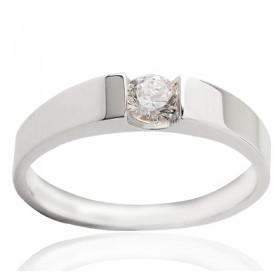 Bague solitaire en or blanc 18 carats et diamant 0,25 carat serti barrettes.