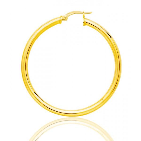 boucles d'oreilles femmes or jaune 18 carats créoles 40 mm