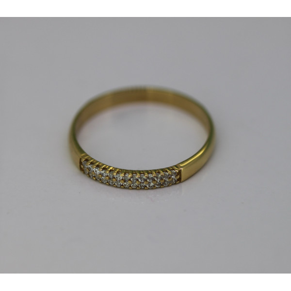 Bague alliance multi-rangs en or jaune 18 carats et diamant 0,10 carat