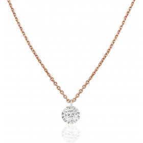 "Collier ""Filles en or"" or rose 18 carats et diamant 0,03 carat serti illusion"