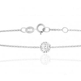 "Bracelet ""Filles en or"" or blanc 18 carats et diamant 0,05 carat serti illusion"