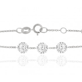 "Bracelet ""Filles en or"" or blanc 18 carats et diamants 0,15 carat serti illusion"