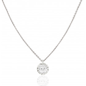 "Collier ""Filles en or"" or blanc 18 carats et diamant 0,15 carat serti illusion"