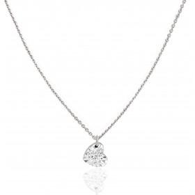 "Collier ""Filles en or"" or blanc 18 carats et diamant 0,05 carat serti illusion cœur"