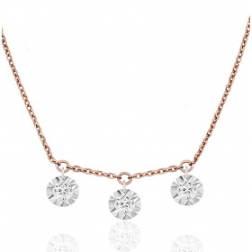 "Collier ""Filles en or"" or rose 18 carats et diamants 0,09 carat serti illusion"