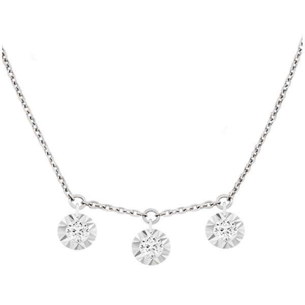 "Collier ""Filles en or"" or blanc 18 carats et diamants 0,09 carat serti illusion"
