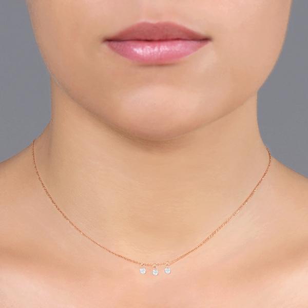 "Collier ""Filles en or"" or rose 18 carats et diamants 0,09 carat serti illusion"