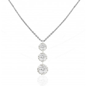 "Collier ""Filles en or"" or blanc 18 carats et diamants 0,18 carat serti illusion"