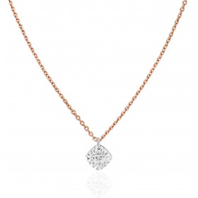 "Collier ""Filles en or"" or rose 18 carats et diamant 0,05 carat serti illusion losange"