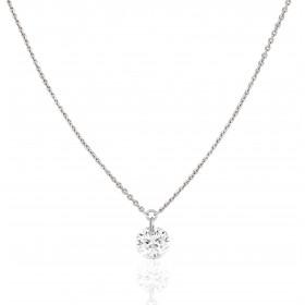 """Collier """"Filles en or"""" or blanc 18 carats et diamant 0,07 carat"""