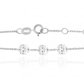 """Bracelet """"Filles en or"""" or blanc 18 carats et diamant 0,30 carat"""