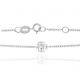 """Bracelet """"Filles en or"""" or blanc 18 carats et diamant 0,10 carat"""