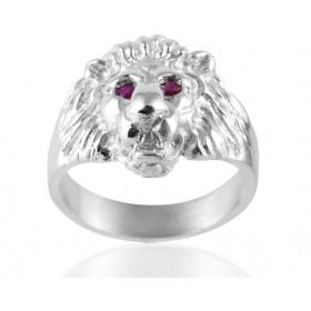 """Chevalière en argent massif et rubis """"lion"""" pour homme."""