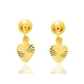 Boucles d'oreilles en or jaune 18 carats coeurs pour petites filles.