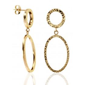 """Pendants en or jaune 18 carats """"double cercles"""" pour femme"""