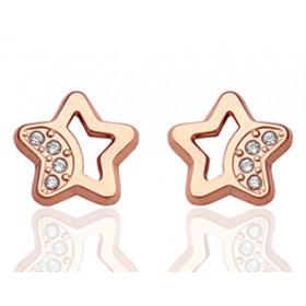 Boucles d'oreilles en or rose 18 carats étoiles et zirconiums pour filles.
