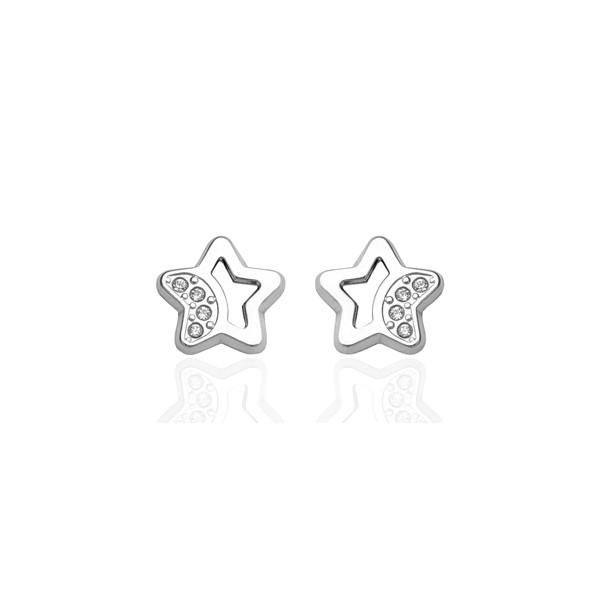 Boucles d'oreilles en or blanc 18 carats étoiles et zirconiums pour filles.