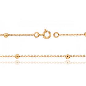"""Chaine de cheville en or jaune 18 carats pour femmes maille forçat et """"boules"""""""