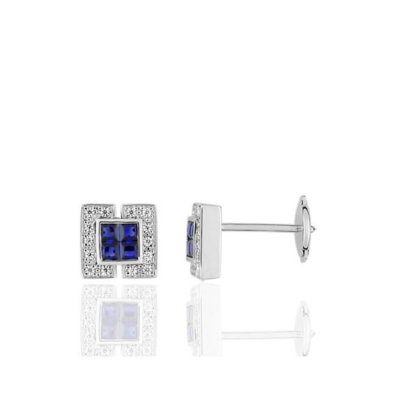 .20 Ct PRINCESS blanc saphir Boucles d/'oreilles 14k Or Blanc//Argent Sterling