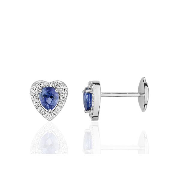 Puces d'oreilles or blanc 18 carats, saphir et diamant 0,25 carat